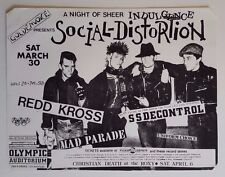 SOCIAL DISTORTION/REDD KROSS/SS DECONTROL Original Show Flyer 1985 PunK HC kbd