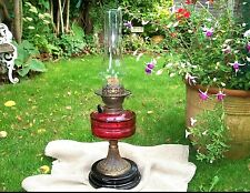 VERITAS CRANBERRY SLICE CUT GLASS OIL LAMP DOUBLE BURNER BRASS PORCELAIN BASE