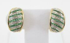 14K Yellow Gold Diamond And Emerald Earrings 2.00 carats