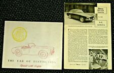 AC Ace & Aceca 1959 sales brochure and 1956 road test Bristol coupe