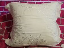 MARTHA STEWART STANDARD PILLOW  & SHAM TROUSSEAU IVORY WHITE FLORAL EMBROIDERED