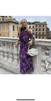 ZARA PURPLE FLORAL PRINT LONG FLOWING RUFFLE DRESS WITH EXPOSED SHOULDERS SIZE L