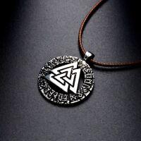 Collier Femme,Homme,Viking,Amulette/Rune,Protection,Chance,Acier,Cuir,Marron,FR