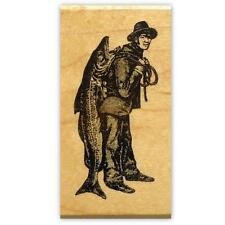 MAN with big FISH Mounted rubber stamp, fishing, person #14