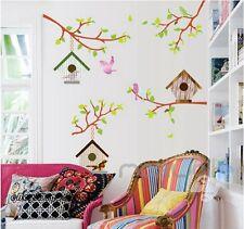 Cute Bird House Tree Branch Wall decals Art Removable sticker kids nursery decor