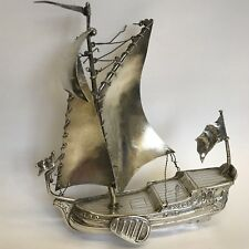 Antique Solid Silver Miniature Dutch Sailing Boat Imported By Adolph Davis 1928