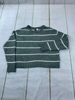 H&M Divided Womens Long Sleeve Striped Knitted Pullover Gray Sweater Size Small