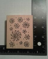 12 Flowers & Dots ~ Mounted Rubber Stamp