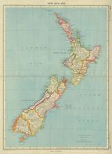 NEW ZEALAND. Showing provinces & counties. BARTHOLOMEW 1947 old vintage map