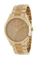 Nib $225 Michael Kors Runway SS Round Chain Bracelet Watch MK4285 Gold/Horn