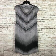 Transit Par Such Women Gray Black Chiffon Sleeveless Shift Drapey Neck Dress S