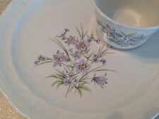 Pontesa Ironstone Chinamoda Violet Floral Snack Plates & Cups Set 4 Spain EUC!