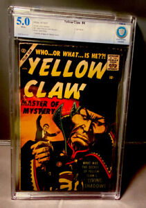 YELLOW CLAW # 4 - CBCS 5.0 - ATLAS 4/1957 - LAST ISSUE- WHITE PAGES