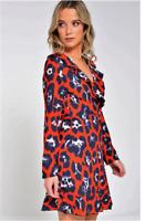 John Zack Wrap over Frill Leopard Animal Print Dress
