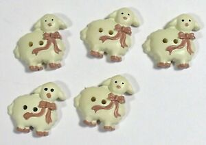 Vtg JHB International Realistic Novelty Plastic Resin BUTTONS Pink Bow Sheep 7/8