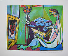 Pablo Picasso WOMAN DRAWING BEFORE MIRROR Estate Signed Ltd Ed. Giclee Medium