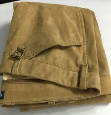 Polo Ralph Lauren Womens Pants Khaki Brown 12 Cotton Lined Lamb Suede MSRP $1298