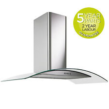 MyAppliances REF28303 90cm Curved Glass Chimney Cooker Hood Extractor Fan Steel