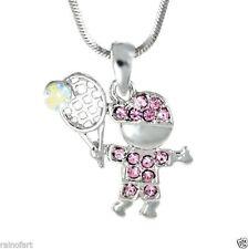 TENNIS BOY W Swarovski Crystal Sport Charm Love New Pink Pendant Necklace Gift