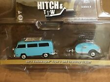 Greenlight  HITCH & TOW  1972 Volkswagen Type 2 Bus w/ Tear Drop Trailer