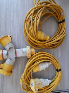 2 X 110v Extention Cables Plus 16amp 110 3 X Way Splitter.