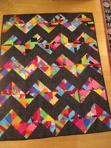 "Handmade Neon Half-square Triangle Chevron Crumb quilt pattern 58"" X 75"""