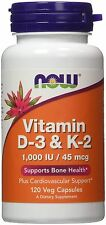 Now foods Vitamin D-3 & K-2 1000 IU 120 caps Vitamin C Healthy Bones & Teeth