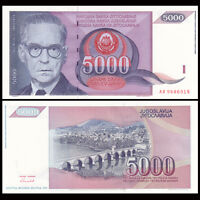 Yugoslavia 5000 5,000 Dinara Banknote, 1991, P-111, UNC, Europe Paper Money