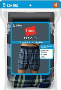"Hanes® Men's ULTIMATE Men's 5-Pack Yarn Dye Exposed Waistband Boxer ""TAGLESS"""