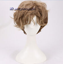 Men's Short Gradient Brown Natural Curly Handsome cosplay wig