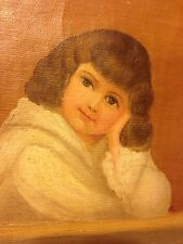 Oil Painting Folk Art Civil War Era Sweet Young Girl Or Boy Canvas Vintage