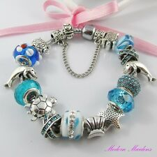 Blue Seaside European Snake Chain Bracelet 15 Beads & Charms 20cm Safety Chain