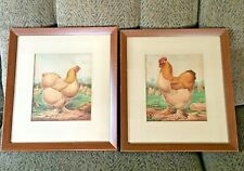 Antique Lot of 2 JW Ludlow Framed & Matted Chicken Prints