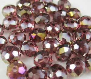 1 strand 4x6mm light purple crystal glass multi-faceted wheel beads 95 pcs