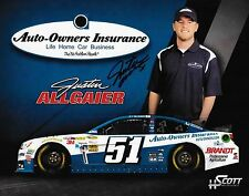 """SIGNED JUSTIN ALLGAIER """"AUTO-OWNERS INSURANCE"""" #51 NASCAR SPRINT CUP POSTCARD"""