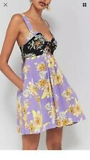 NWT Free people Baby its you Purple Black Dress sz Med $128 miniBandeau Cut Out
