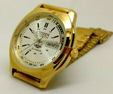 citizen automatic men's 21 jewels gold plated day/date vintage japan watch run