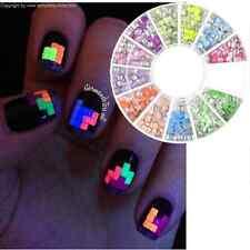 400pcs 2mm Nail Art Tips Studs Square Candy Fluorescent Colors Rhinestones Stud