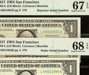 2017 $1 DOLLAR 4401 RADAR and REPEATER SERIAL NUMBER NOTES PMG SUPERB 67 & 68