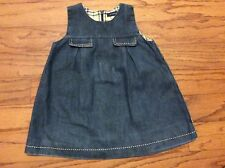 Burberry baby girl Denim Jeans dress with classic check lining size 12 months
