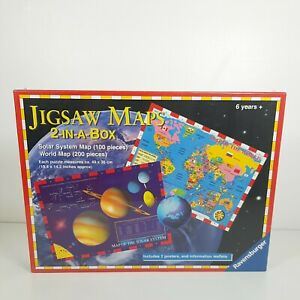 """Jigsaw Maps, """"Solar System & World Map"""" 2 In A Box Puzzles, Ravensburger"""