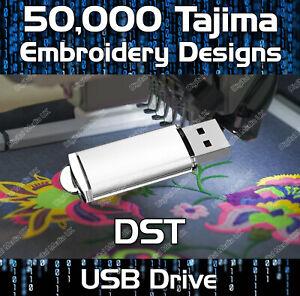 50,000 Tajima embroidery pattern design files DST on USB drive