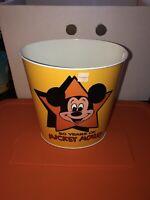 VTG Walt Disney Prod Micky Mouse 50th Birthday Metal Litho Tin Trash Can Yellow