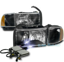 99-01 DODGE RAM 1500 SPORT BLACK HEADLIGHT W/CORNER TURN SIGNAL LAMP+10000K HID