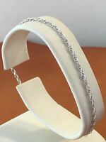 Vintage Silver Bracelet 1970s 1980s Rope Chain Retro Spring Clip Clasp 7in