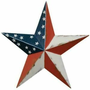 Patriotic Americana Rustic Flag 3D Metal Barn Star Rustic Country Home Decor