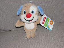 "FISHER PRICE STUFFED PLUSH PUPPY DOG LAUGH AND LEARN BABY TOY DOLL 95702 7"" BLUE"