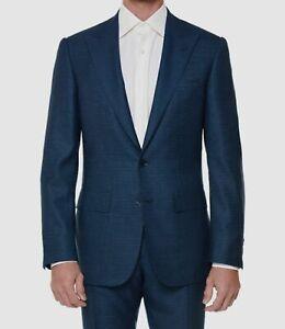 $5895 Stefano Ricci US 44/EU 54 Men's Blue Wool Suit Coat Textured Blazer Jacket