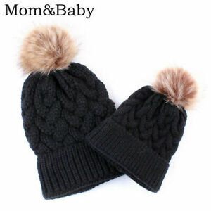 Winter Parent-child Caps Baby Mum Pompom Cap Beanie Warm Knitted Hat