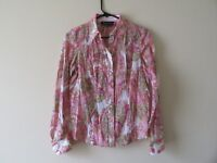 JONES NEW YORK SIGNATURE PETITE WOMEN'S BUTTON DOWN PAISLEY BLOUSE SIZE PM 1BC23